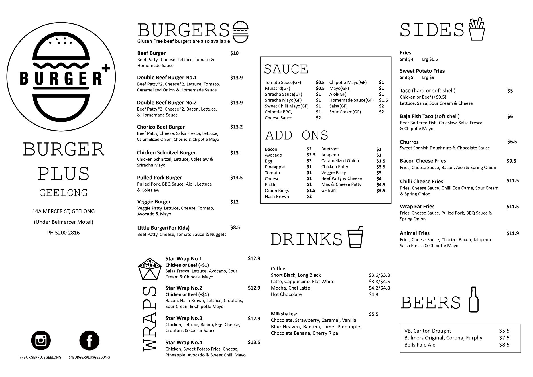 Burger Plus Menu