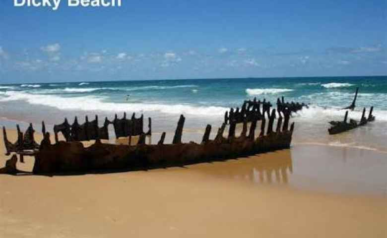 The famous Dicky Beach wreck while still standing