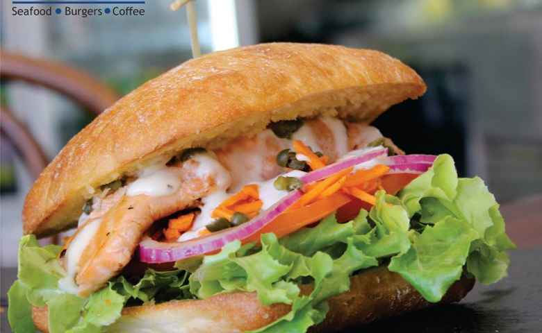 Grilled Salmon Burger from Reelax Cafe