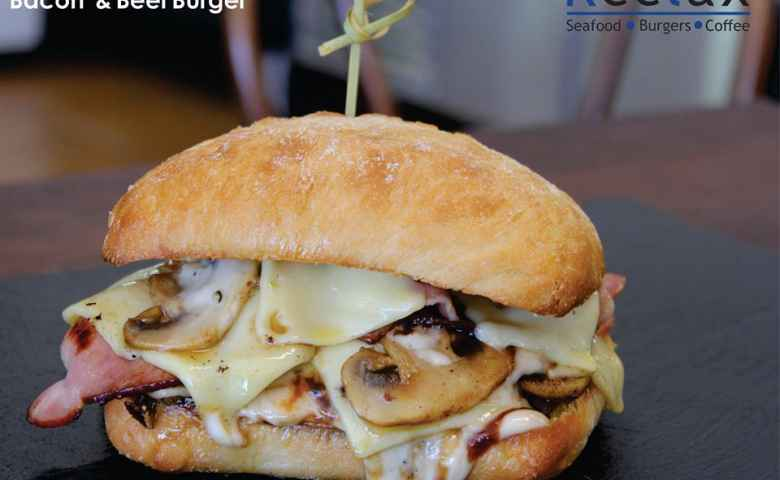 Mushroom, Swiss Cheese, Bacon and Beef from Reelax Cafe
