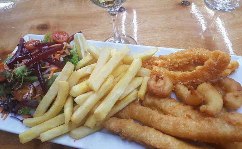 Chilli Squid Garlic prawns Beer battered flathead tails with salad and chips