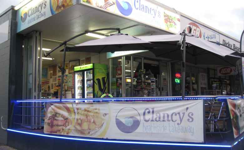 Outside Clancy's Beachside Takeaway