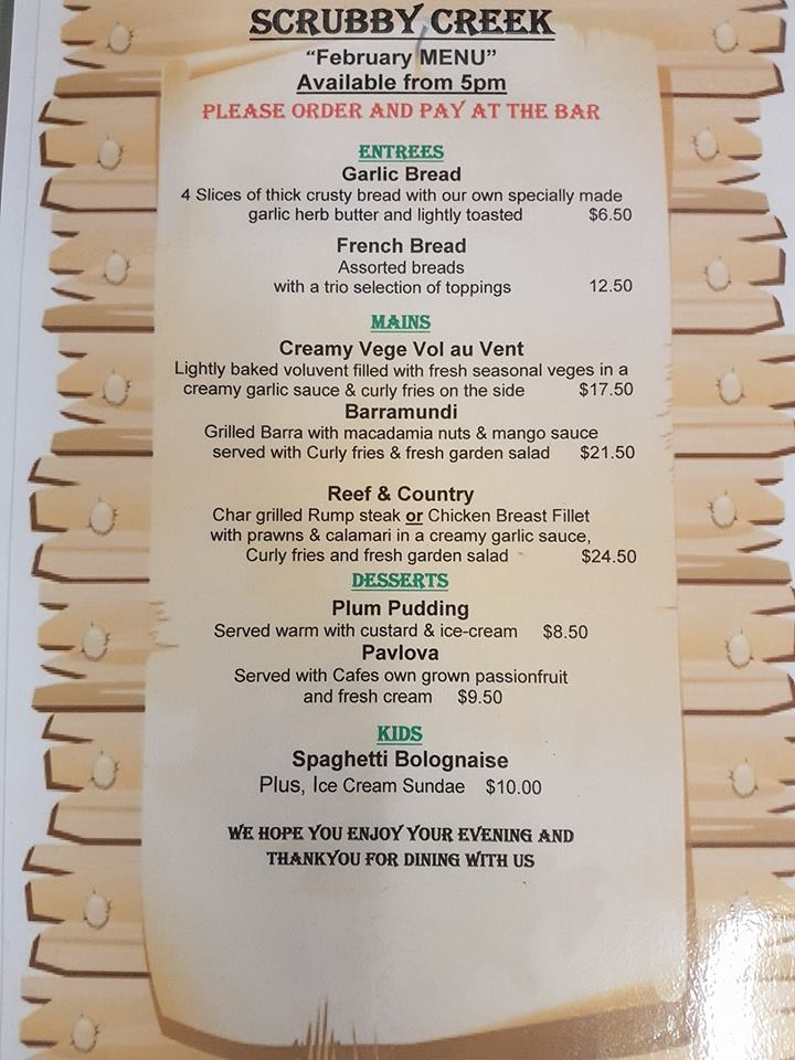 Bunya Nut Cafe Bistro Menu